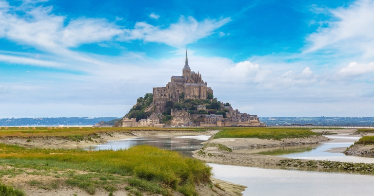 Itinerary 3 - block 2 Mont Saint Michele abbey in a beautiful summer day, France_S-F Shutterstock_565773049-2000-cover