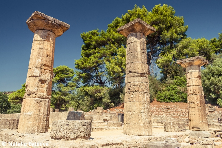Olympia Greece, Ancient Ruins Temple of Hera - Natalia Evteeva - shutterstock_620479943