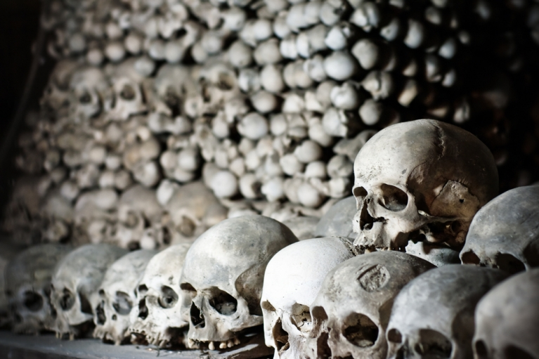 Collection of skulls at the Ossuary