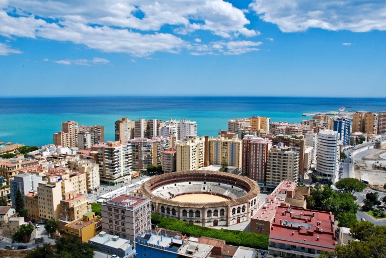 Panoramic view of Malaga, Spain