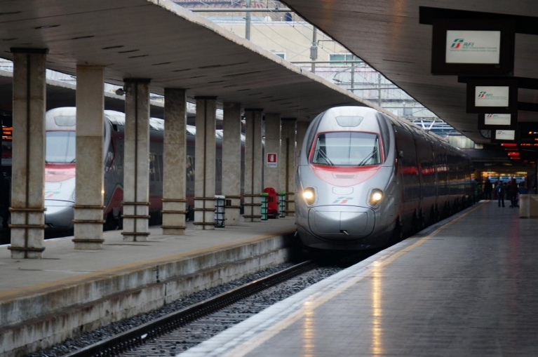 Italian high-speed train in Venice