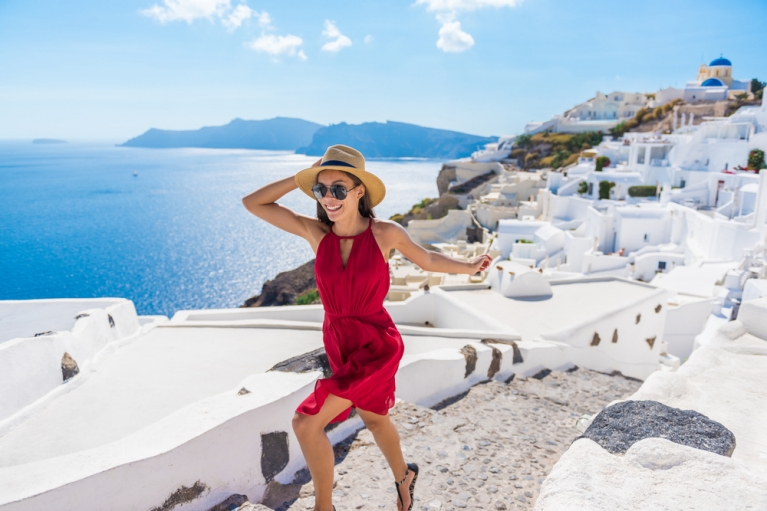 Happy Girl in Oia Greece