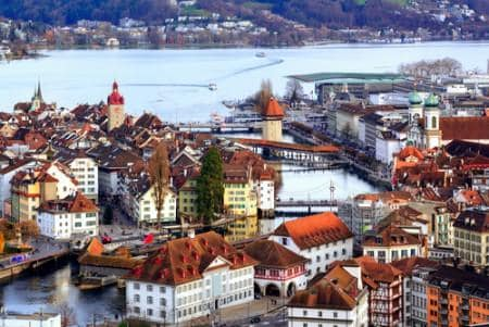 The red tiled roofs of the old town of Lucerne