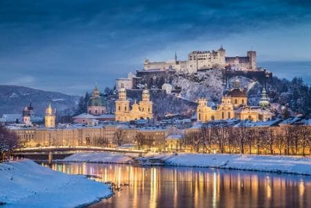 The historic city of Salzburg with Salzach river in winter