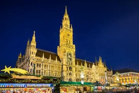 City Hall and Christmas market at night in Munich