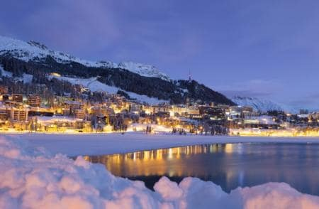 Beautiful snowy town in St. Moritz at night