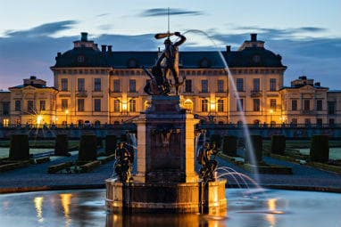 View of Drottningholm palace in the evening