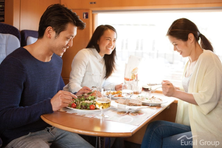 Travelers having lunch in the train