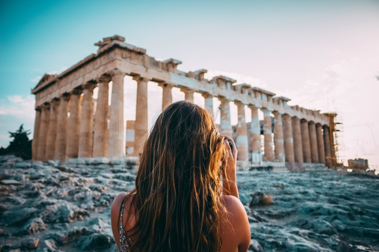 Girl Photographing Ruins | Athens, Greece