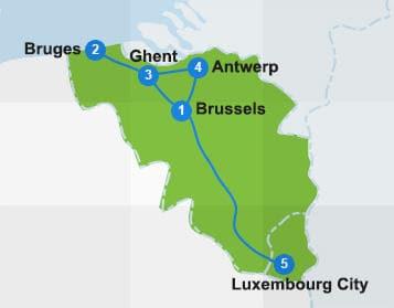 map belgium itinerary