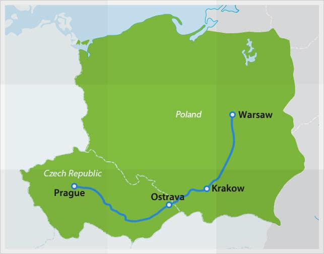 Map with route Czech Republic - Poland night train