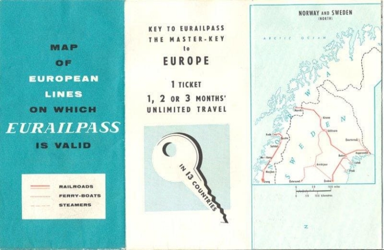 A vintage edition of the Eurail Pass map