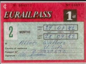 A Eurail Pass from 1982