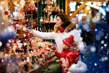 TOP 5 Europe Winter destinations| Mom with kids shopping at Christmas market in Germany