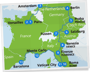 Paris Europe Map.European Highlights Itinerary Europe By Train Itinerary