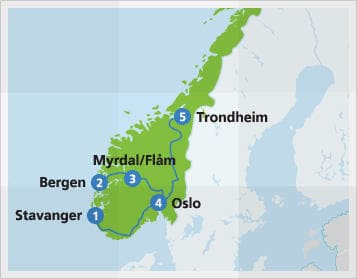 Map with example route in Norway