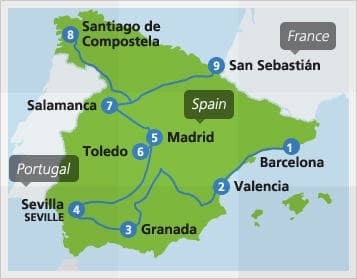 Map 24 Spain.Spain By Train From 105 Spain Train Routes And Map Of Spain