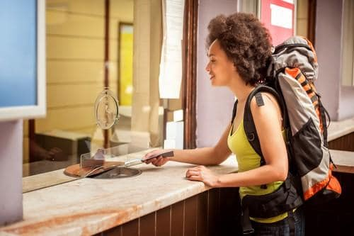 Female backpacker with reservation ticket