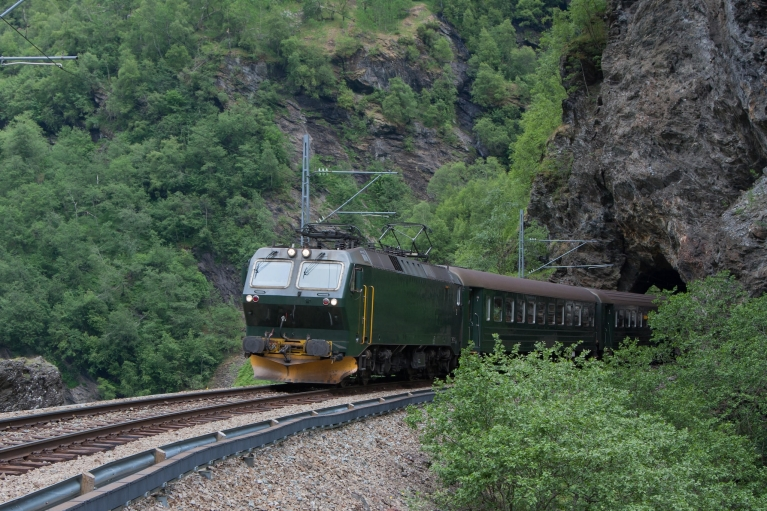 Flam Railway coming out of tunnel