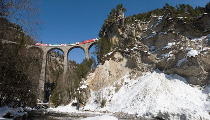 Glacier Express crossing high viaduct