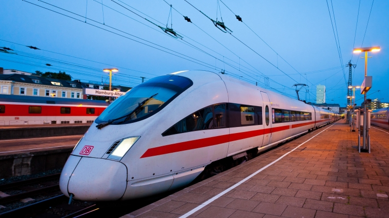 ICE high-speed train at platform, Hamburg, Germany