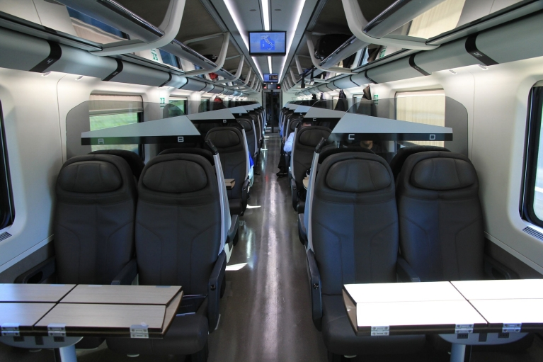 Interior of Le Frecce train 2nd class