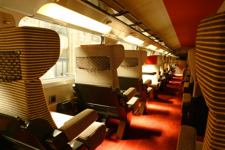 Interior TGV high-speed train 1st class, France