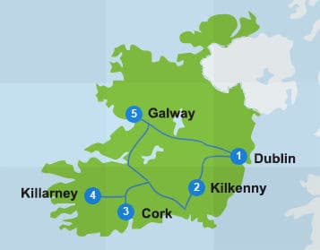 Map of itinerary in Ireland