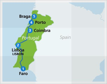Map with example train route in Portugal
