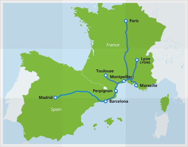 Map with train routes of Renfe-SNFC high-speed train