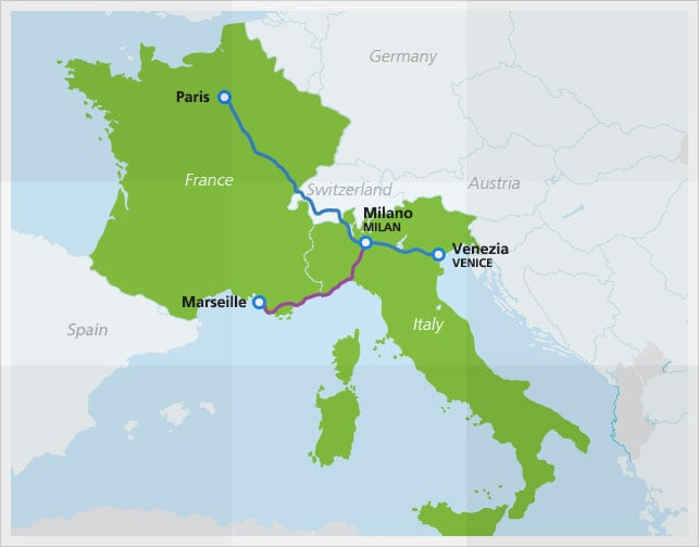 Map with Thello night train route between Paris and Venice