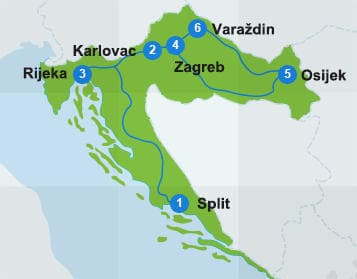 Map with itinerary route in Croatia