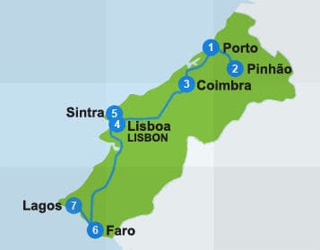 Map with itinerary route in Portugal