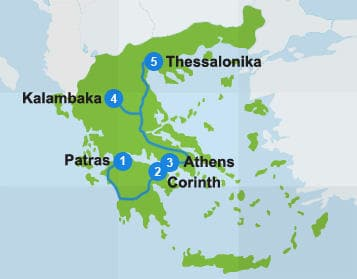 Map with itinerary route in Greece
