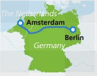 Map with train route Amsterdam to Berlin