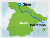 Gijon Spain Map.Barcelona To Gijon By Train Eurail Com