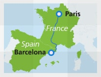 Map with train route Paris to Barcelona