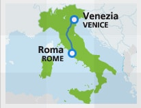 Map with train route Rome to Venice
