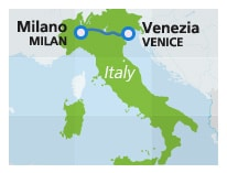 Map with train route Venice to Milan