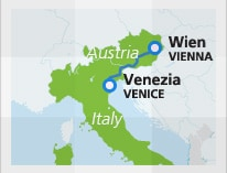 Map with train route Vienna to Venice
