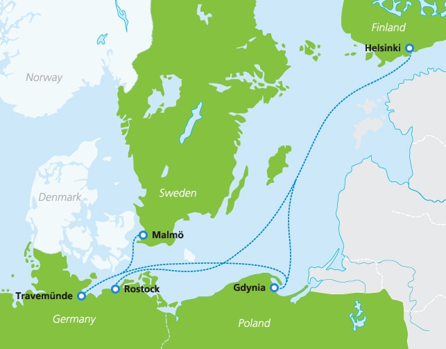 Map with Finnlines ferry routes