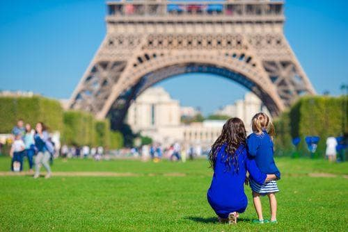 2 weeks in France for families | Mother and daughter outside the Eiffel Tower