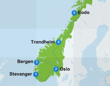 Map Norway itinerary
