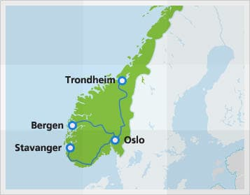 Map with popular connections in Norway