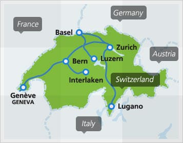 Map with popular connections in Switzerland