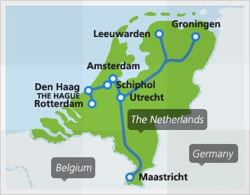 Map with popular connections in the Netherlands