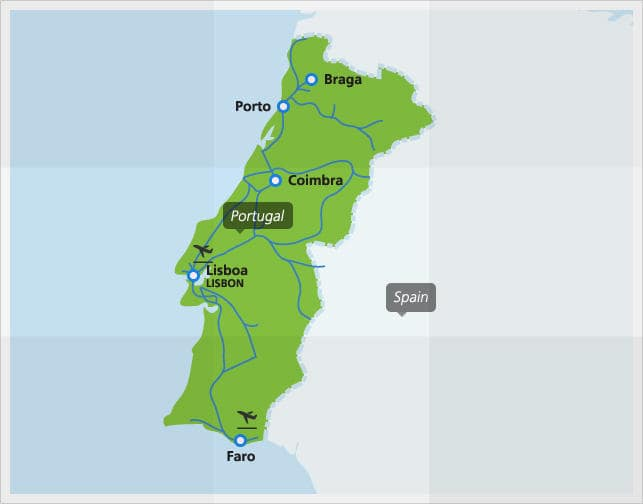 Map Of Northern Spain And Portugal.Portugal By Train From 82 Portugal Train Routes Eurail Com
