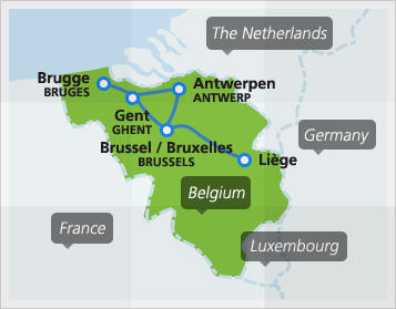 map with popular domestic routes in belgium