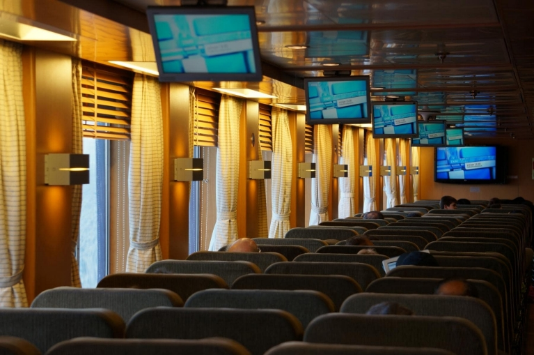 Seats on board of Blue Star ferry