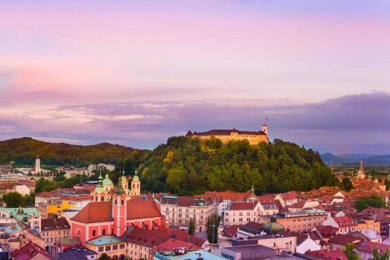 The city of Ljubljana at sunset